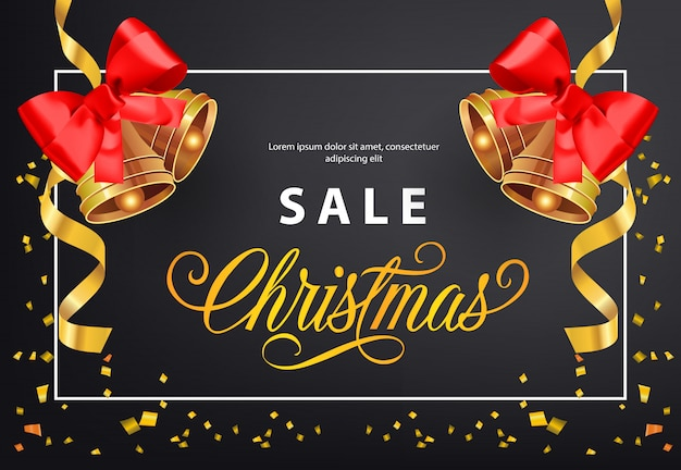 Christmas Sale poster design. Gold jingles with red bows Free Vector