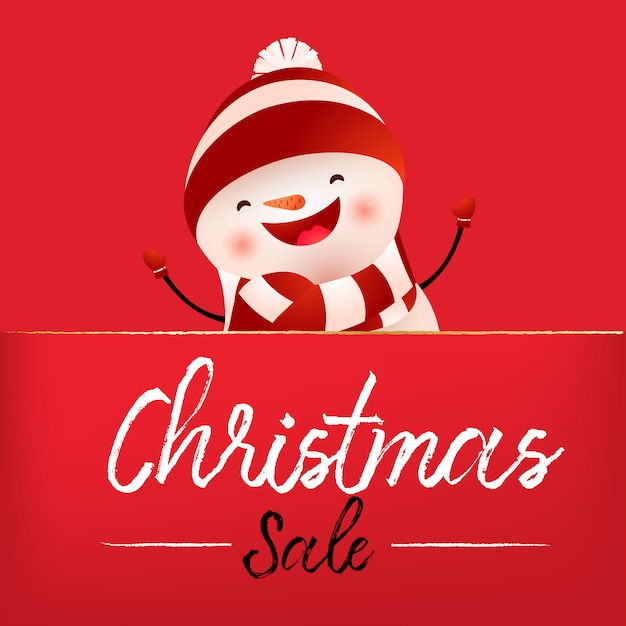 Christmas sale red banner design with laughing snowman Free Vector