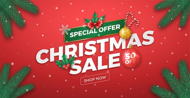 Christmas sale special offer banner Premium Vector