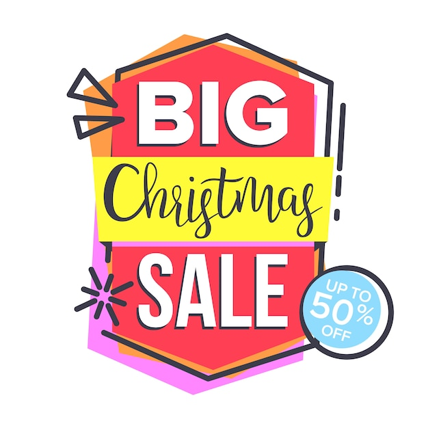 Christmas sale sticker Premium Vector