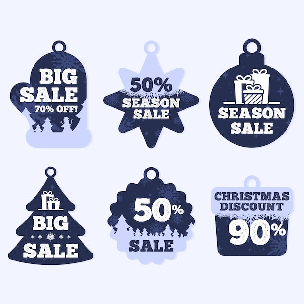 Christmas sale tag collection in flat design Free Vector