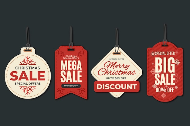 Christmas sale tag collection in flat design Premium Vector