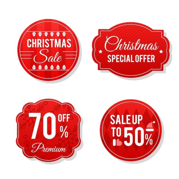 Collezione di tag di vendita di natale in design piatto Vettore gratuito