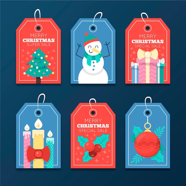 Коллекция рождественских распродаж в плоском дизайне Premium векторы