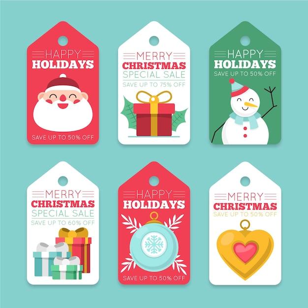 Коллекция рождественских распродаж в плоском дизайне Бесплатные векторы