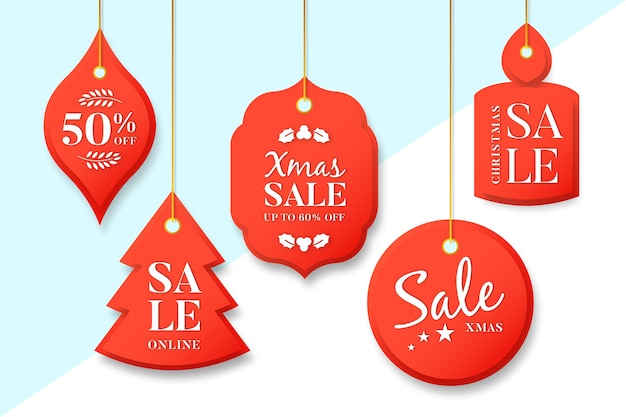 Christmas sale tag collection in paper style Free Vector