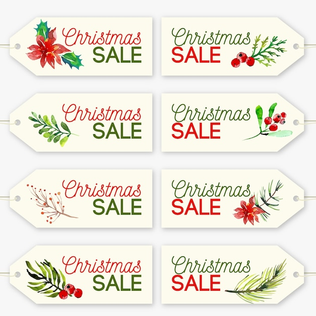 Christmas sale tag collection in watercolor Free Vector