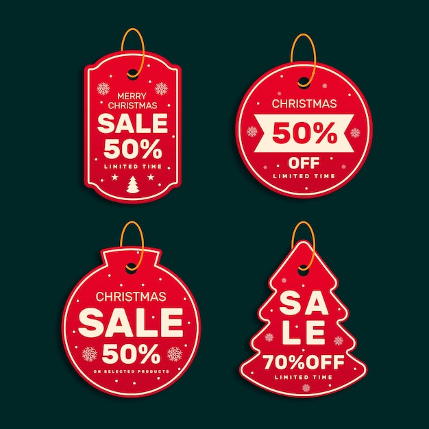 Christmas sale tage collection Free Vector