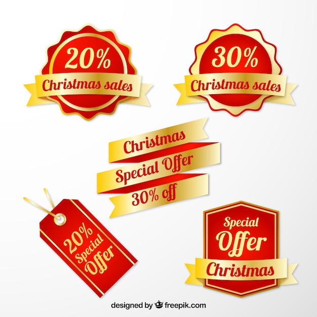 Christmas Sale Tags Collection Free Vector