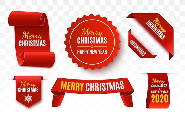 Christmas sale tags. vector banner Premium Vector