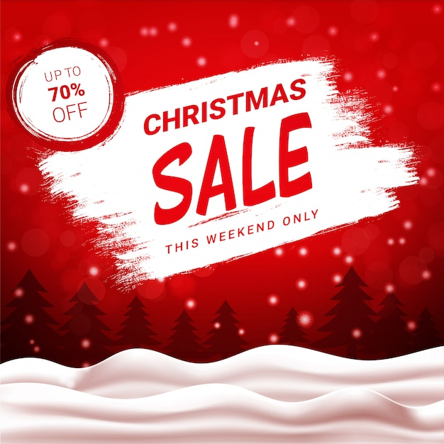Christmas sale up to 70 percent off, red discount banner with winter landscape and snowfall. Premium Vector