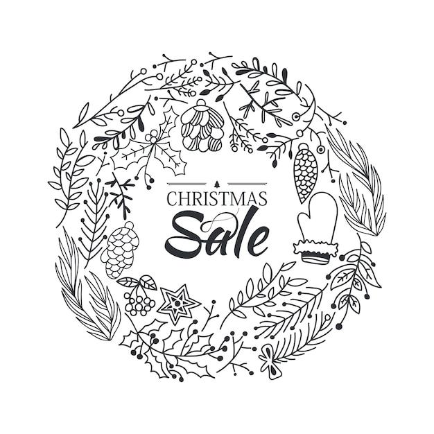 가지와 전통적인 겨울 요소의 아름다운 만화와 함께 크리스마스 판매 화환 스케치 구성 템플릿 무료 벡터