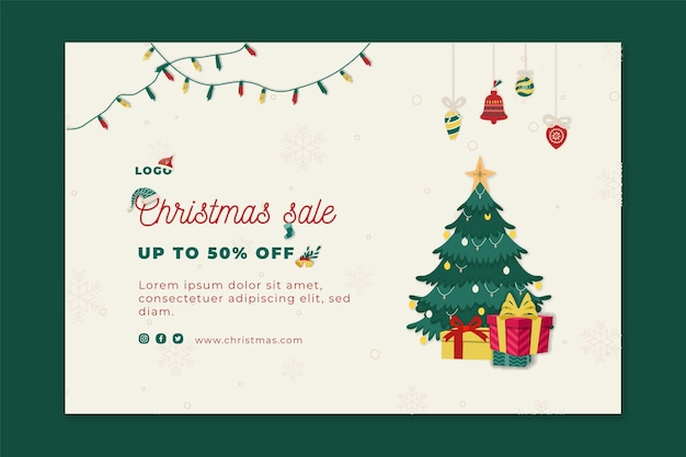 Christmas sales banner template Free Vector