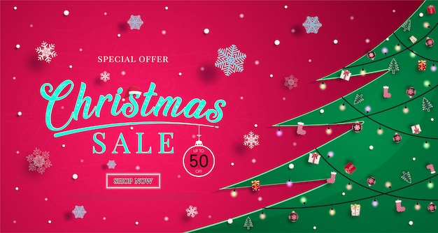 Christmas sales banner with snowflakes  and for shopping discount promotion illustration or background Premium Vector