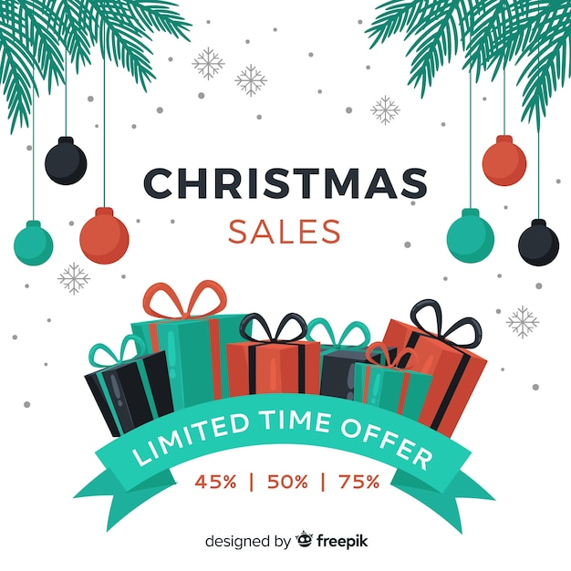 Christmas sales banner Free Vector
