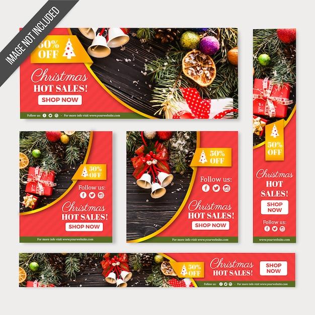 Christmas sales banners web Free Vector