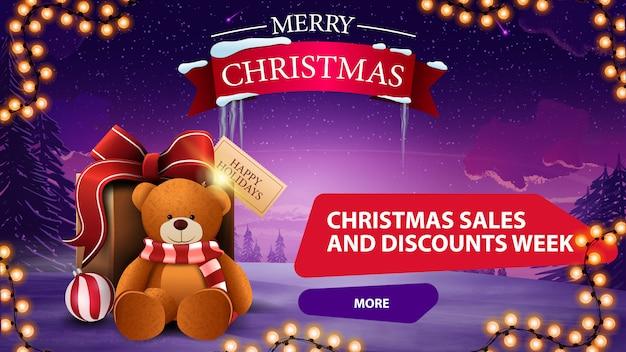 Christmas sales and discount week banner Premium Vector