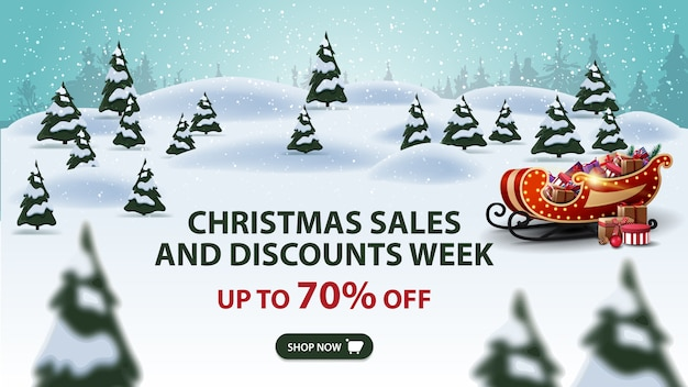 Christmas sales and discount week banner Premium Vector