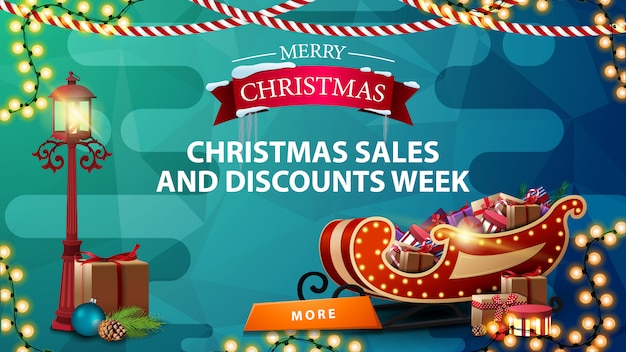 Christmas sales and discount week, blue discount banner Premium Vector