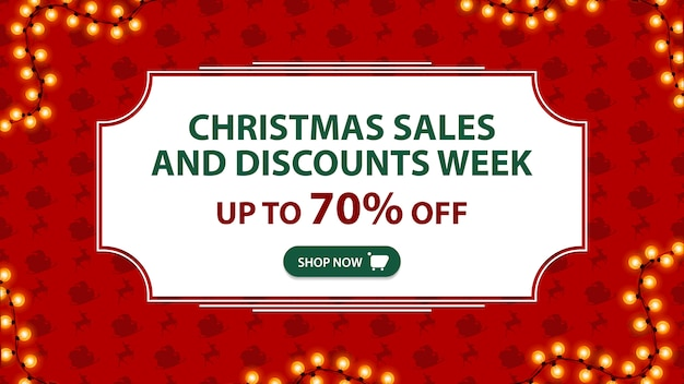 Christmas sales and discount week up to 70% off red banner with white vintage frame Premium Vector