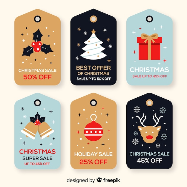 Christmas sales flat label pack Free Vector