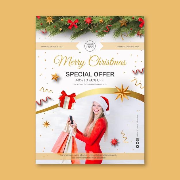 クリスマスセールチラシa5バーティカル Premiumベクター