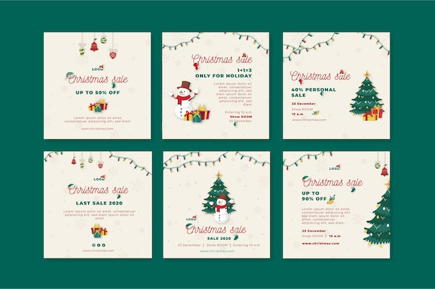 Christmas sales instagram post collection Free Vector