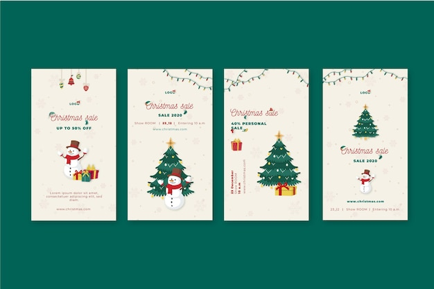 Christmas sales instagram stories collection Free Vector