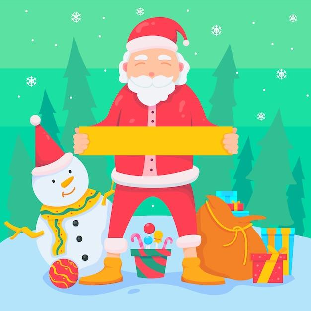Christmas santa character holding blank banner Free Vector