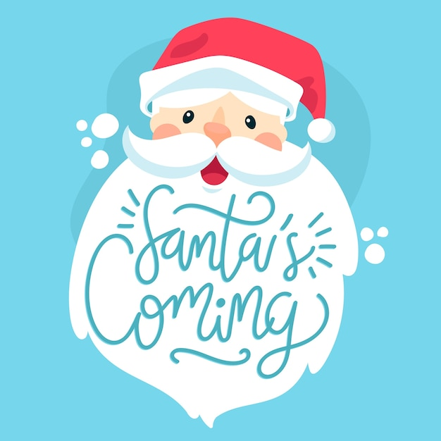 Christmas santa claus character with lettering Free Vector