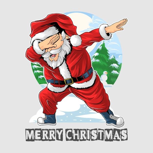 Рождество санта клаус танцует Premium векторы