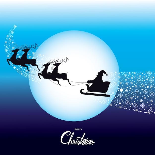 Christmas santa claus driving in a sledge vector. Premium Vector