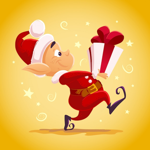 Christmas santa claus elf character portrait . cartoon style illustration. happy new year, merry xmas  element. good for congratulation card, , flayer, , poster. Premium Vector