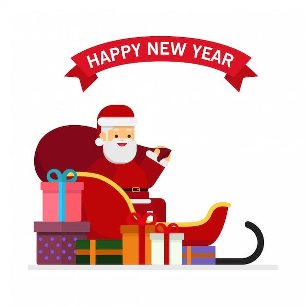 クリスマス、サンタ、claus、そり、プレゼント、山積み Premiumベクター