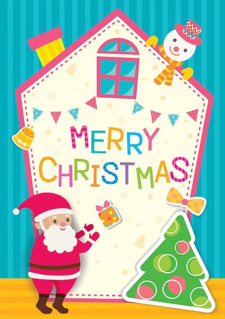 Christmas santa home Premium Vector