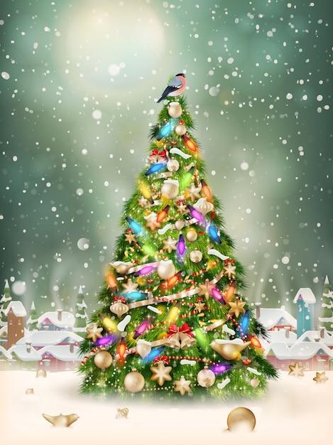 クリスマスシーン、降雪は小さな村の木で覆われています。 Premiumベクター