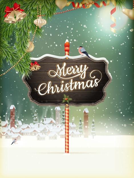 クリスマスシーン、降雪は木で小さな村をカバーしました。 Premiumベクター