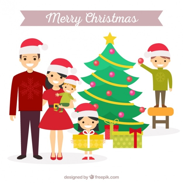 Christmas scene with cheerful family and tree Vector ...