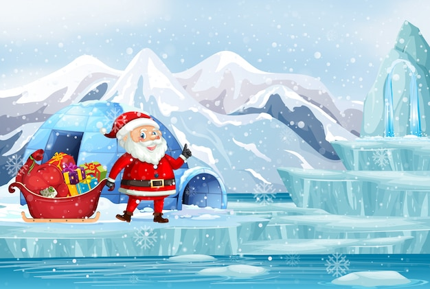 Christmas scene with santa in northpole Free Vector