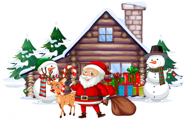 Christmas scene with santa and snowman Free Vector