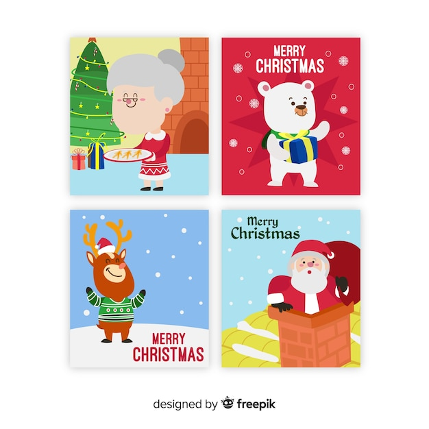 Christmas scenes cards collection Free Vector