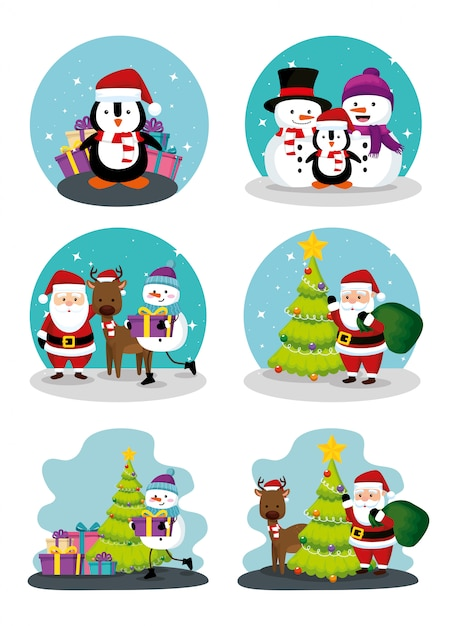 Christmas scenes with icons set Free Vector