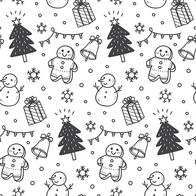 Christmas seamless background in doodle style Premium Vector