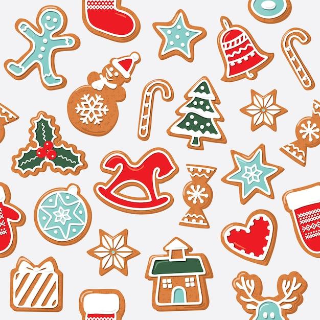 Christmas seamless background. gingerbread cookies. Premium Vector