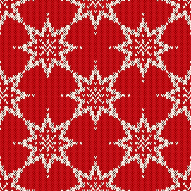 Christmas seamless knitted pattern with snowflakes. christmas and new year background. Premium Vector
