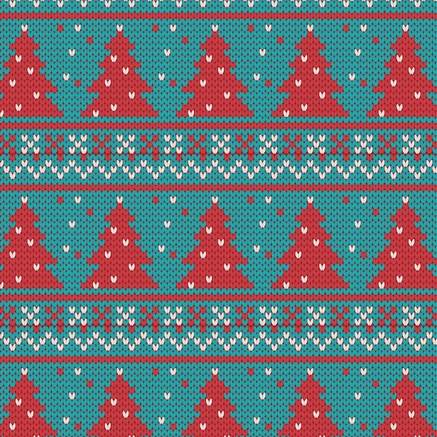 Christmas seamless knitted pattern Premium Vector