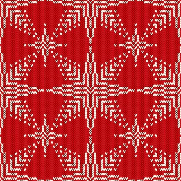 Рождественский бесшовный вязаный свитер дизайн со звездами. векторный фон Premium векторы