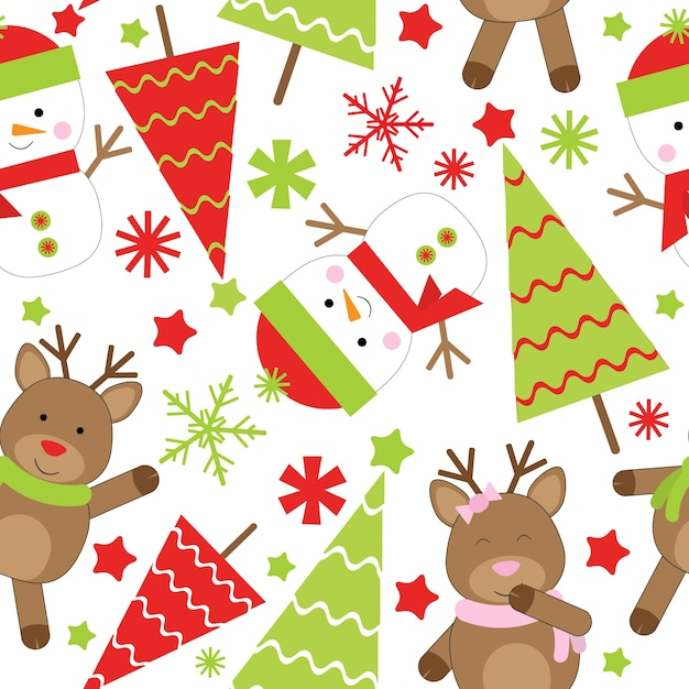 Christmas seamless pattern of cute snowman and xmas tree Premium Vector