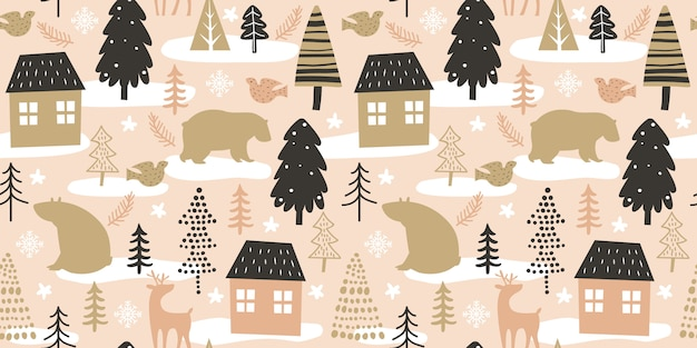Christmas seamless pattern for decoration Premium Vector