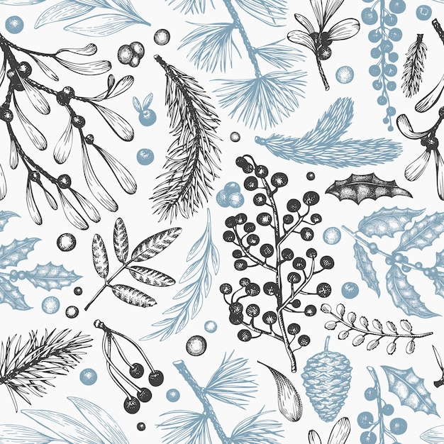 Christmas seamless pattern. hand drawn vector winter plants . coniferous, holly, mistletoe design Premium Vector